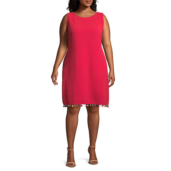 Ronni Nicole Sleeveless Cross-Back Shift Dress with Pom-Pom Trim - Plus