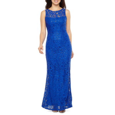 Blu Sage Sleeveless Sequin Lace Gown