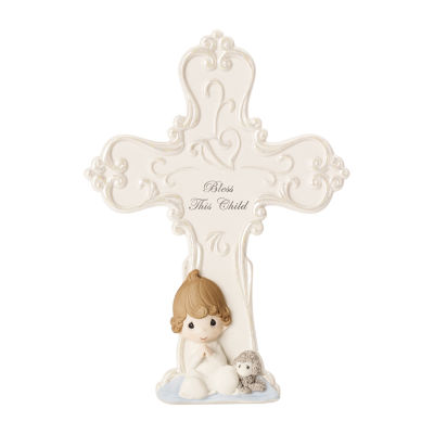 "Precious Moments ""Bless This Child""  Bisque Porcelain Cross With Easel  Boy"