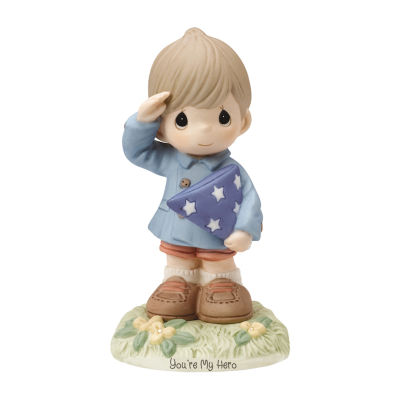 "Precious Moments  ""You're My Hero""  Bisque Porcelain Figurine  Boy"