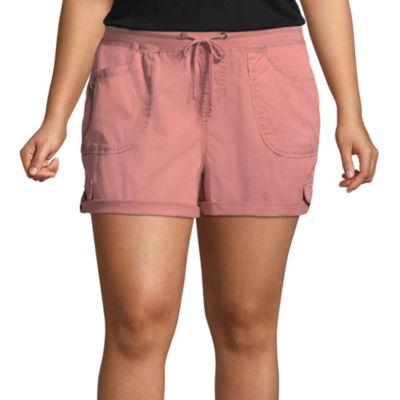 Unionbay Womens Mid Rise Pull-On Short-Juniors
