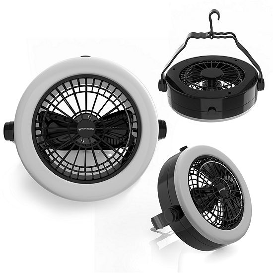 Wakeman Black Portable 2 In 1 Ceiling Fan And 12 Led Camping Lantern