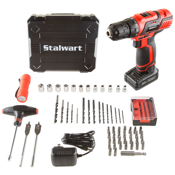 Stalwart 20V Lithium Ion Cordless Drill 62 Piece Set