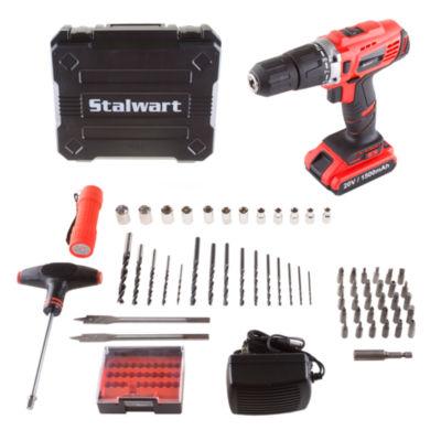 Stalwart 20V Lithium Ion 2 Speed Hammer Drill 64 Piece Set