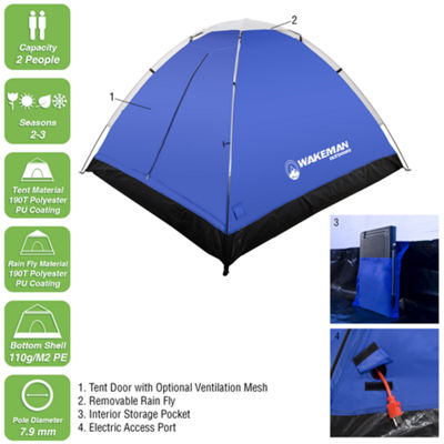 Wakeman Blue 2 Person Dome Tent