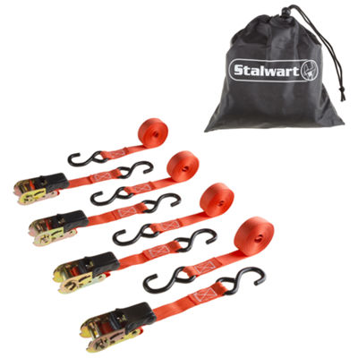 Stalwart 15 ft.  Ratchet Tie Down Straps - 4 Pack