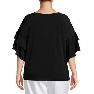 Liz Claiborne V-Neck Ruffle Top- Plus