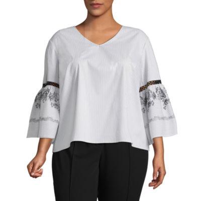 Liz Claiborne Stripe Embroidered Sleeve Top- Plus