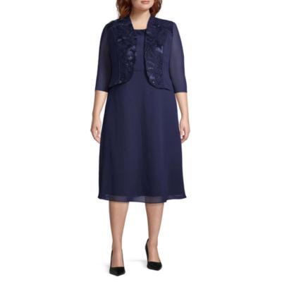 Maya Brooke 3/4 Sleeve Jacket Dress - Plus
