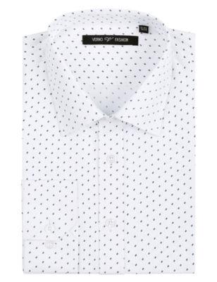 Verno Men's 100% Micro Fiber Printed Slim Fit Long Sleeve Dress Shirt - Big & Tall