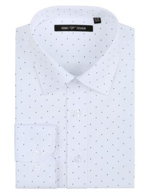 Verno Men's Printed Polk-a-Dot Classic Fit Long Sleeve Dress Shirt - Big & Tall