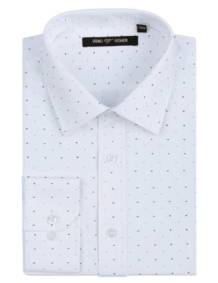 Verno Men's Printed Bow Tie Classic Fit Long Sleeve Dress Shirt - Big & Tall