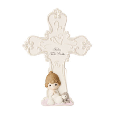 "Precious Moments ""Bless This Child""  Bisque Porcelain Cross With Easel  Girl"