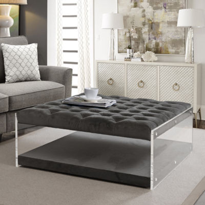 Inspired Home Fleur Velvet Modern Contemporary Oversized Button Tufted Clear Acrylic Sides Ottoman