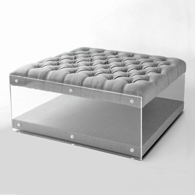 Inspired Home Fleur Linen Modern Contemporary Oversized Button Tufted Clear Acrylic Sides Ottoman
