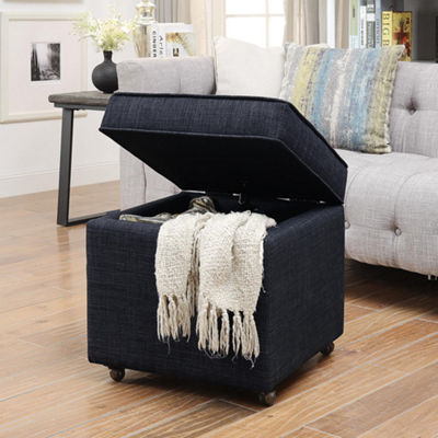 Inspired Home Laurie Linen Modern Contemporary Hidden Storage Castered Legs Ottoman Cube
