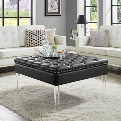 Inspired Home Skye PU Leather Oversized Button Tufted with Silver Nailhead Trim Clear Acrylic Legs Ottoman Coffee Table