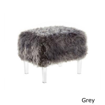 Inspired Home Zelina Luxe Faux Fur Acrylic Leg Ottoman
