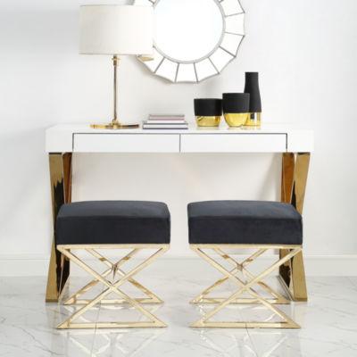 Inspired Home Elora Velvet X-Leg Gold Base Ottoman