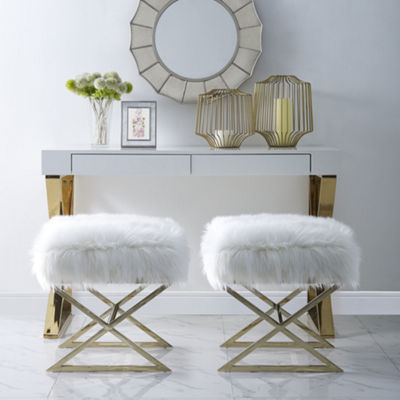 Inspired Home Elora Faux Fur X-Leg Gold Base Ottoman