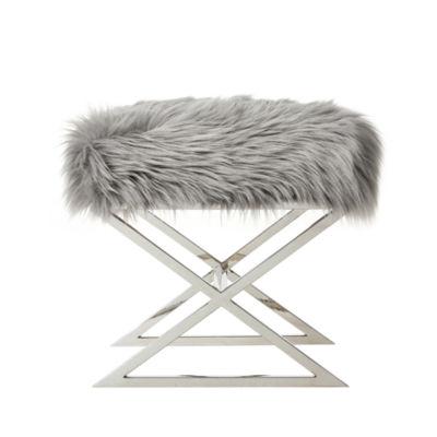 Inspired Home Elora Faux Fur X-Leg Chrome Base Ottoman