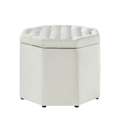 Inspired Home Luna Linen Upholstered Tufted Octagon Storage Ottoman