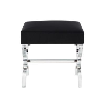 Inspired Home Reida Velvet Acrylic X-Leg Ottoman