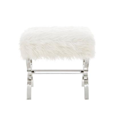 Inspired Home Reida Faux Fur Acrylic X-Leg Ottoman