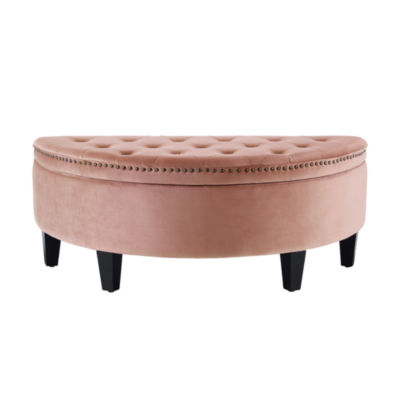 Inspired Home Tabitha Velvet Modern Contemporary Button Tufted Gold Nailhead Trim Half Moon Storage Ottoman