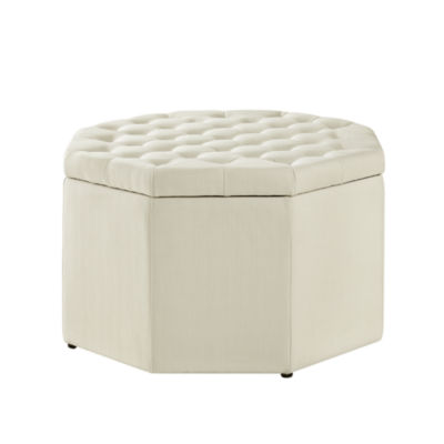 Inspired Home Tyler Linen Upholstered Tufted Octagon Cocktail Storage Ottoman