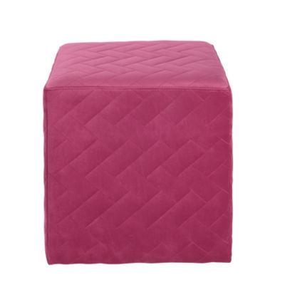 Inspired Home Duke Velvet Brick Quilted Cube Ottoman