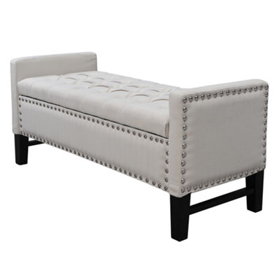 Inspired Home Emmaline Linen Modern Contemporary Button Tufted with Silver Nailhead Trim Multi Position Storage Bench
