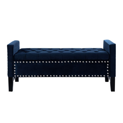 Inspired Home Emmaline Velvet Modern Contemporary Button Tufted with Silver Nailhead Trim Multi Position Storage Bench