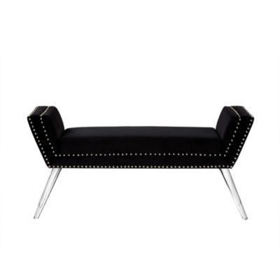 Inspired Home Lexi Velvet Modern Contemporary Nailhead Trim Acrylic Legs Bench