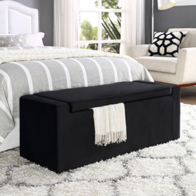 Inspired Home Alejandro Velvet Upholstered Shoe Storage Bench