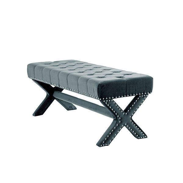 Inspired Home Bryoni Velvet Button Tufted Silver Nailhead Trim X-Leg Bench