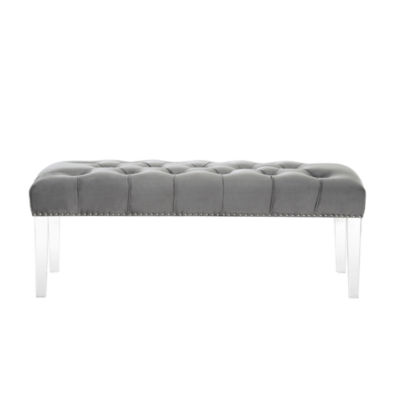 Inspired Home Willow Velvet Button Tufted with Silver Nailhead Trim Clear Acrylic Legs Ottoman Bench