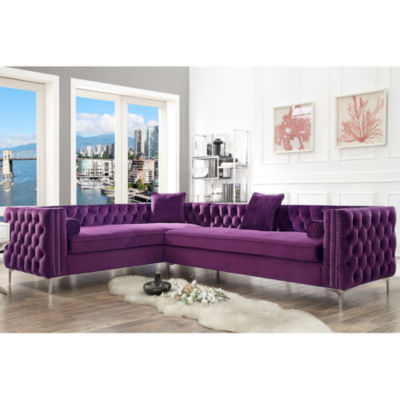 Inspired Home Olivia Velvet Modern Contemporary Button Tufted with Silver Nailhead Trim Metal Y-leg Left Facing Corner Sectional Sofa