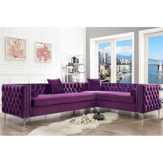 Inspired Home Olivia Velvet Modern Contemporary Button Tufted with Silver Nailhead Trim Metal Y-leg Right Facing Corner Sectional Sofa