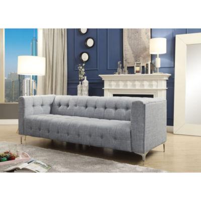 Inspired Home Octavia Linen Modern Contemporary Button Tufted Metal Y-leg Sofa