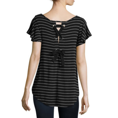 a.n.a Short Sleeve Scoop Neck Stripe T-Shirt-Womens