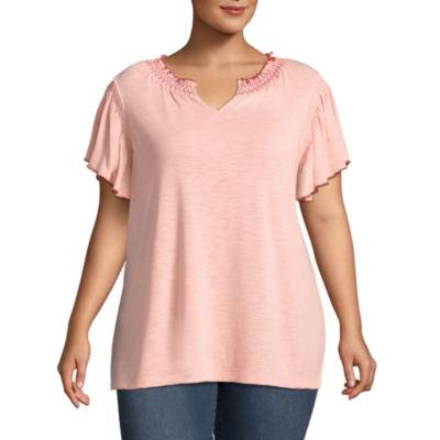 St. John's Bay®Short Sleeve Smocked Blouse - Plus