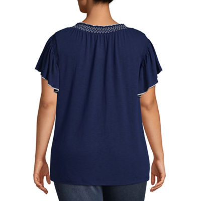 St. John's Bay® Short Sleeve Smocked Blouse - Plus
