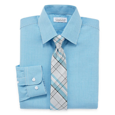 Collection by Michael Strahan Long Sleeve Shirt + Tie Set -Boys 8-20-Reg and Husky