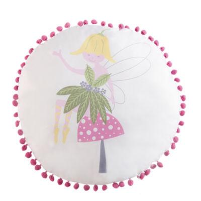 Laura Hart Kids Garden Fairies Round Throw Pillow