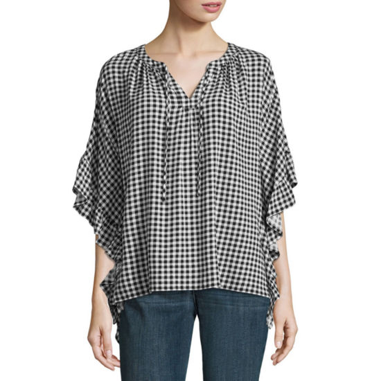 A.N.A Flutter Sleeve Tie Front Top - Tall