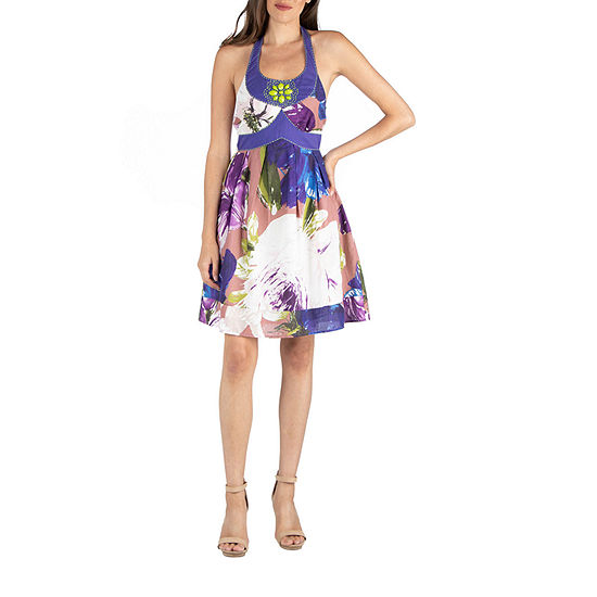 24/7 Comfort Apparel Watercolor Floral A Line Dress