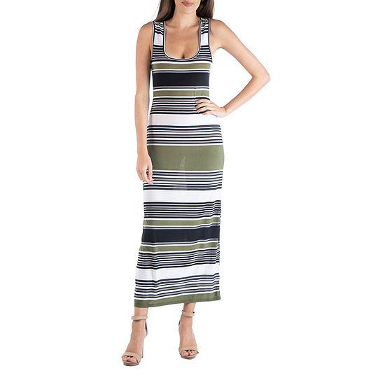 24/7 Comfort Apparel Multicolor Striped U Neck Maxi Dress