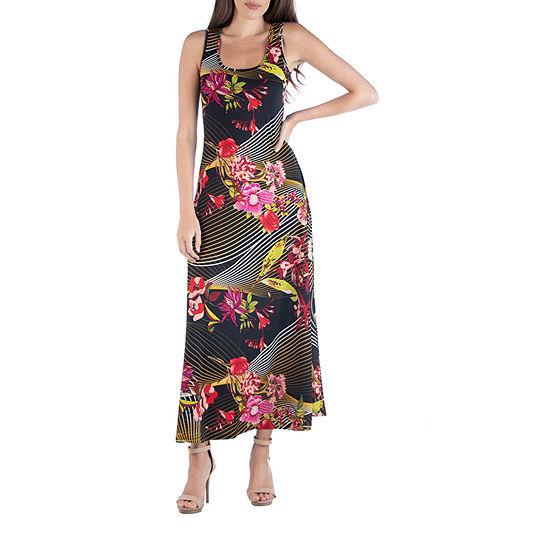 24/7 Comfort Apparel Sleeveless Geometric Floral Maxi Dress