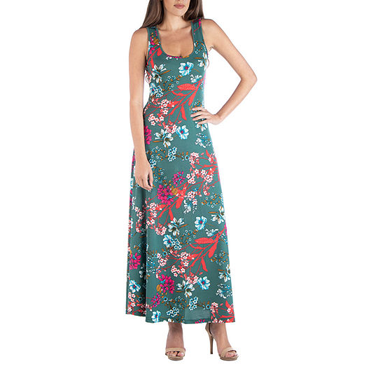 24/7 Comfort Apparel Sleeveless A Line Maxi Dress